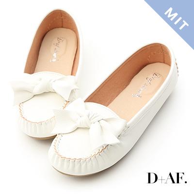 D+AF 可愛印象.MIT立體蝴蝶結莫卡辛豆豆鞋*白
