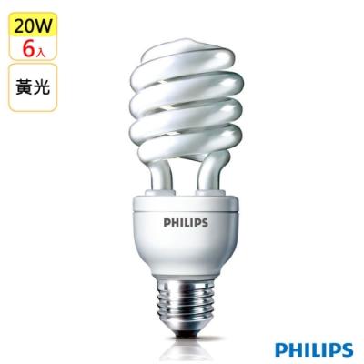 飛利浦Philips HELIX 省電燈泡20W 黃光E27(6入)