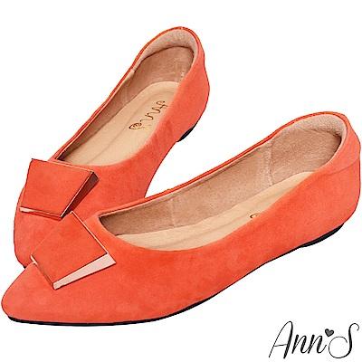 Ann'S訂製款羊麂皮質感梯形扣尖頭平底鞋-愛馬橘