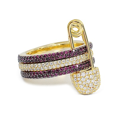 apm MONACO法國精品珠寶 桃紅x金色三圓環別針造型鑲鋯戒指