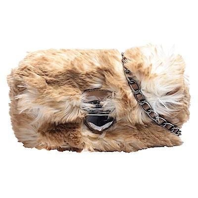 PRADA 絨毛包身皮革穿繞鍊帶金屬壓釦手拿/斜背包(迷你-展示品)