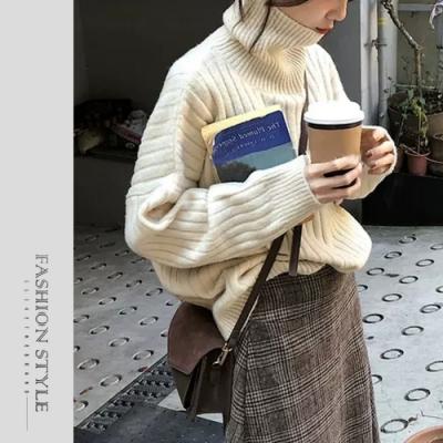 2F韓衣-簡約高領落肩壓紋針織上衣-4色(S-XL)