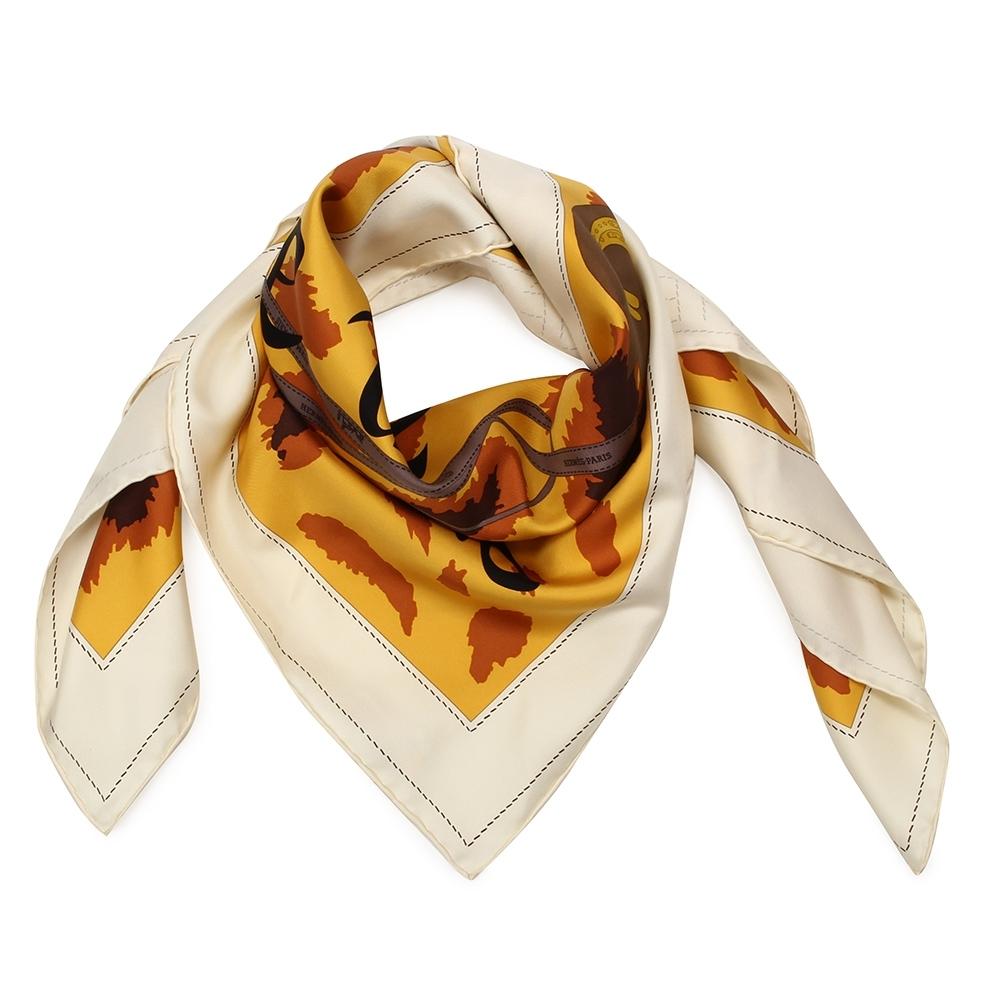 HERMES Monsieur Et Madame De紳士名媛真絲方型披肩圍巾(橘色)