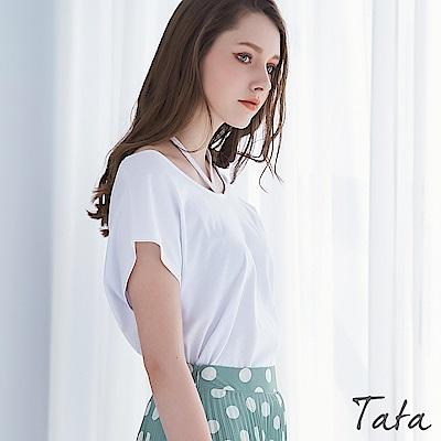 露肩繞頸設計上衣 共三色 TATA