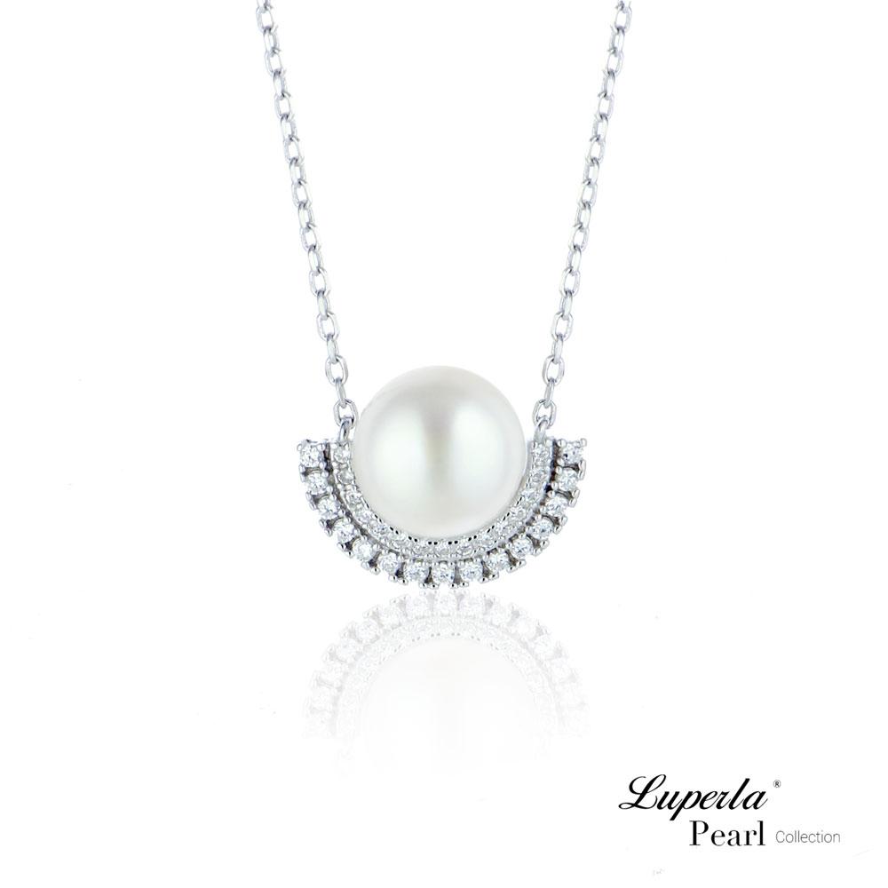大東山珠寶 純銀晶鑽天然珍珠項鍊鎖骨鍊  浪漫星辰