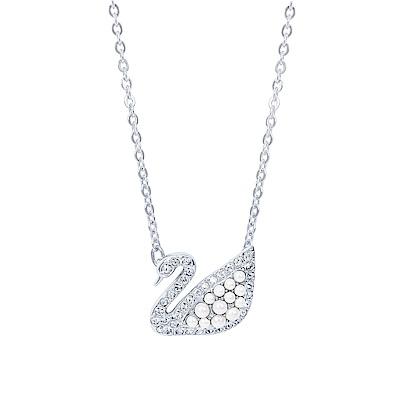SWAROVSKI 施華洛世奇 璀璨水晶珍珠天鵝造型銀色項鍊