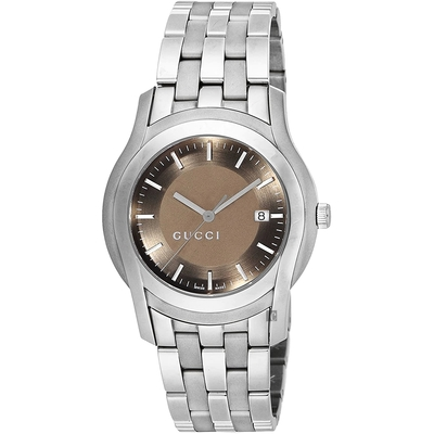 GUCCI G-Class 經典棕色中性手錶(YA055215)