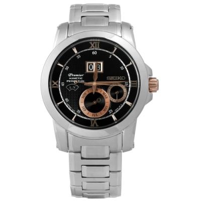 SEIKO 精工 Premier 人動電能 萬年曆 自動追時 不鏽鋼手錶-黑色/41mm