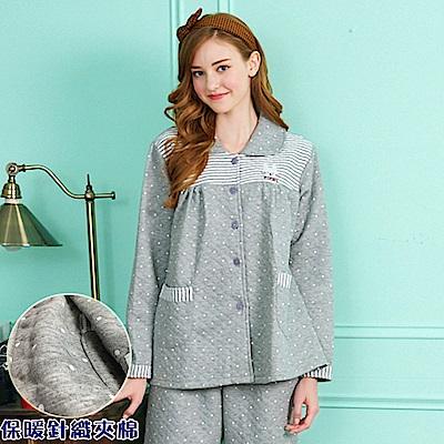 睡衣 哈尼白兔點點 保暖針織夾棉長袖兩件式睡衣居家服 (R77212-6麻灰) 蕾妮塔塔