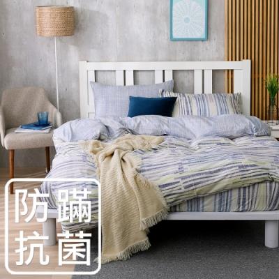 鴻宇 美國棉 100%精梳棉 防蟎抗菌 沐舍居 藍 雙人四件式薄被套床包組