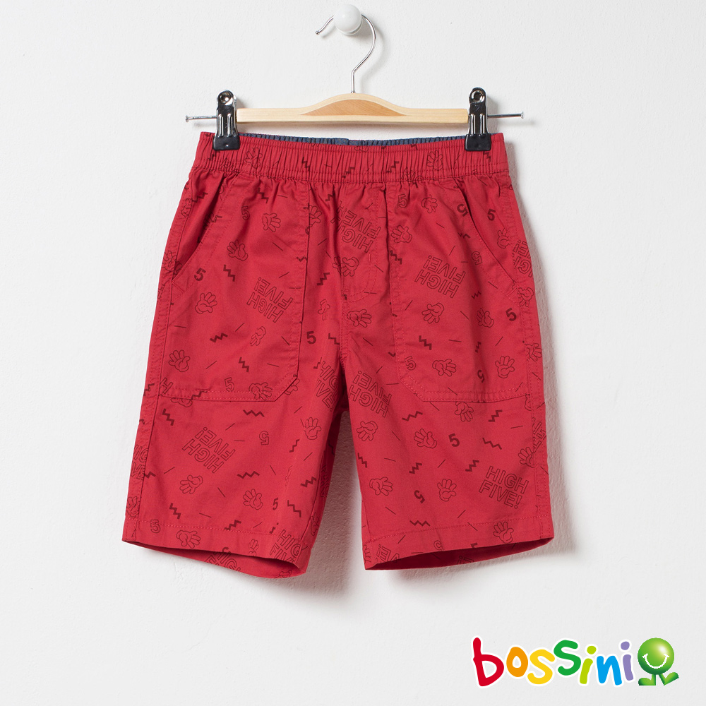 bossini男童-印花輕便短褲01暗紅