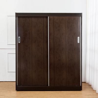 Birdie南亞塑鋼-5.5尺二推/拉門塑鋼衣櫃(胡桃色)-166x61x200cm