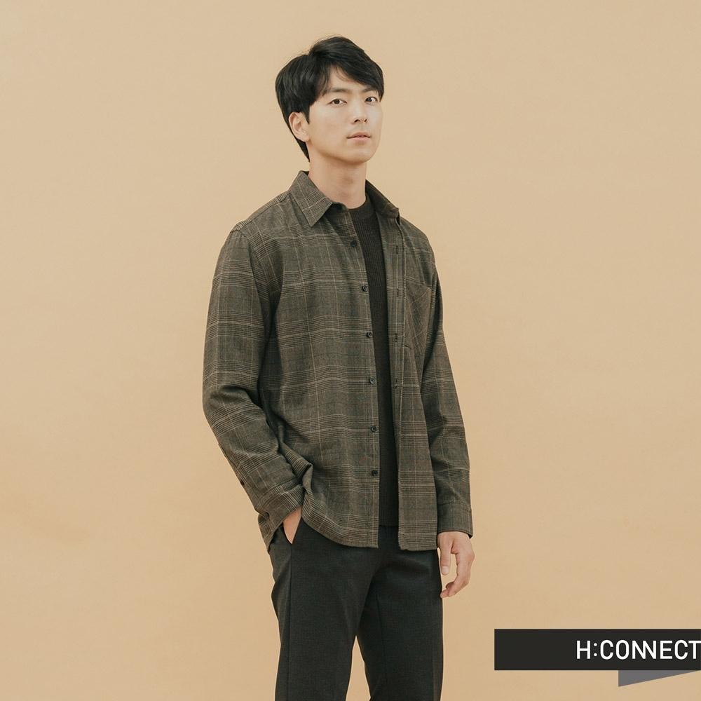 H:CONNECT 韓國品牌 男裝-簡約格紋單口袋襯衫-棕
