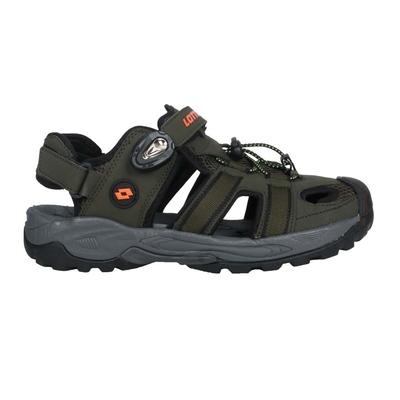 LOTTO 男排水護趾涼鞋-休閒 海邊 戲水 水陸鞋 拖鞋 魔鬼氈 LT1AMS3165 軍綠橘