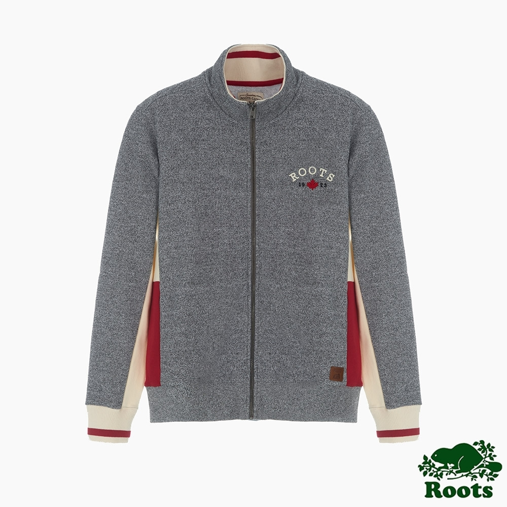 Roots男裝-小木屋格紋系列 刷毛立領夾克-灰色