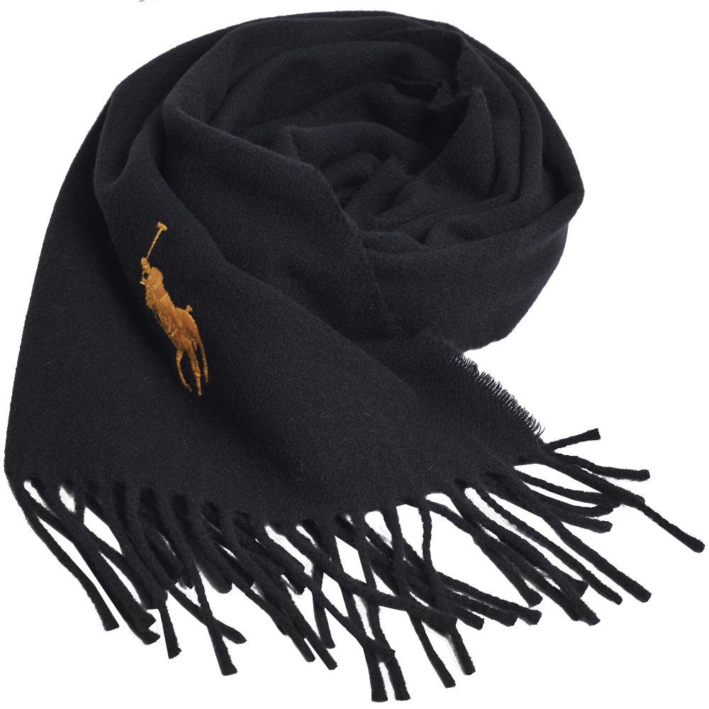RALPH LAUREN POLO 義大利製大馬刺繡LOGO素面羊毛圍巾(黑色系)GUCCI