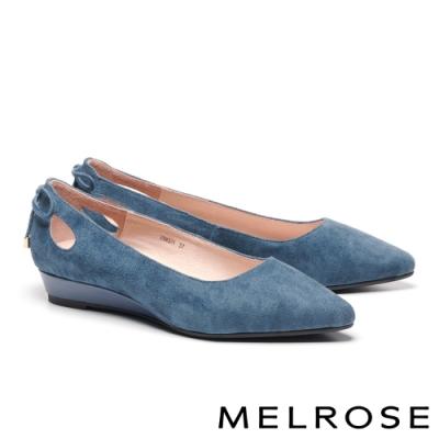 低跟鞋 MELROSE 知性典雅鏤空綁帶羊麂皮尖頭楔型低跟鞋-藍