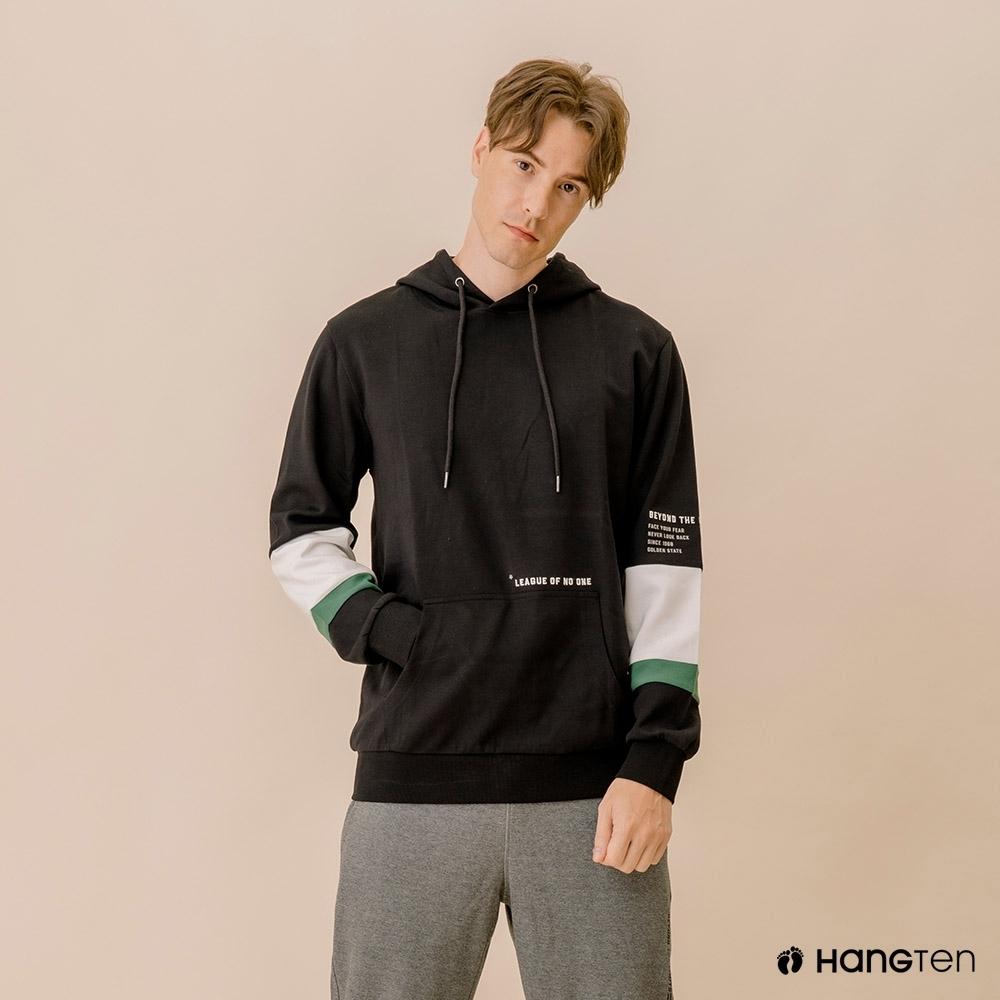 Hang Ten-男裝--撞色色塊連帽T恤-黑色