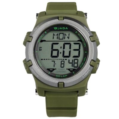JAGA 捷卡 電子運動 倒數計時 計時碼錶 鬧鈴 日常生活防水 橡膠手錶-綠色/47mm