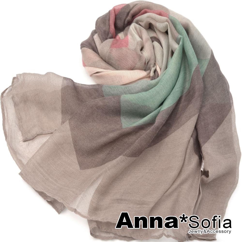 AnnaSofia 霓彩繽幻曲 巴黎紗披肩圍巾(卡其咖系)