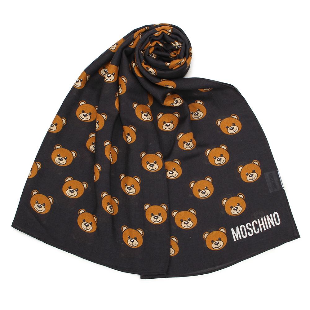 MOSCHINO 經典滿版TOY小熊圖樣100%莫代爾薄圍巾-黑色