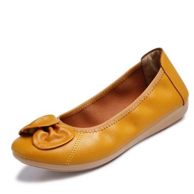 韓國KW美鞋館-簡約休閒大蝴蝶平底鞋-黃色