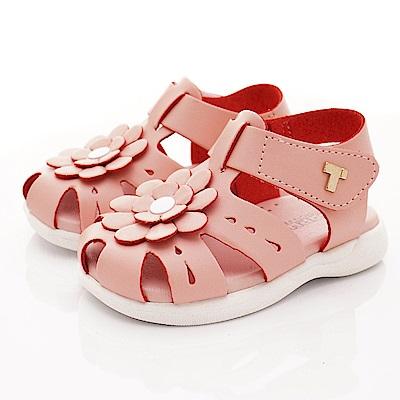 TOPUONE童鞋 小花皮革護趾涼鞋款 SI19501粉(小童段)
