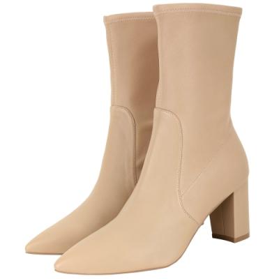 Stuart Weitzman LANDRY 75 柔軟羊皮尖頭短靴(奶茶色)