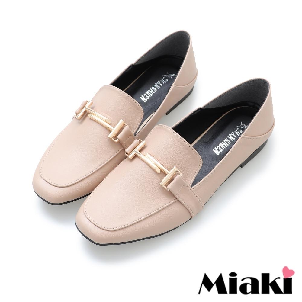 Miaki-樂福鞋素面方頭低跟通勤鞋-卡其