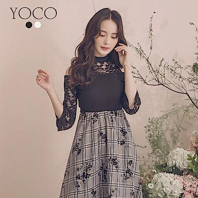 東京著衣-YOCO  氣質女伶高領拼接蕾絲坑條紋上衣-S.M.L(共兩色)