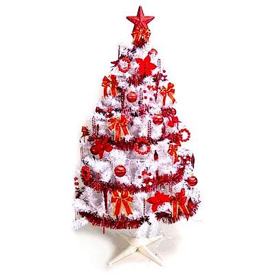 摩達客 台灣製4尺豪華版夢幻白色聖誕樹 (+純紅色系配件)(不含燈)(本島免運