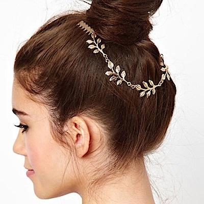 Hera 赫拉 女神風金葉子後掛式髮箍/髮帶
