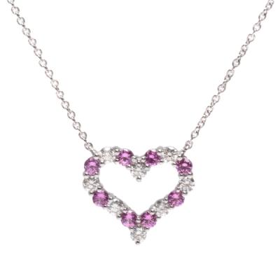 Tiffany&Co. HEARTS系列粉紅藍寶石/鑽石鑲嵌愛心造型吊墜白金項鍊(銀)