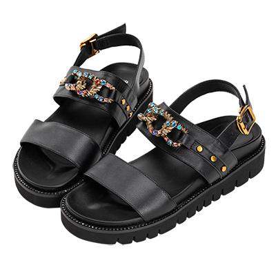 Robinlo 金屬感璀璨寶石牛皮涼鞋 黑色