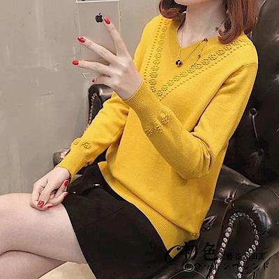花朵邊純色V領針織衫-共5色(F可選)   初色