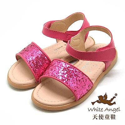 天使童鞋 閃亮布蘭妮涼鞋(中-大童)D943-桃