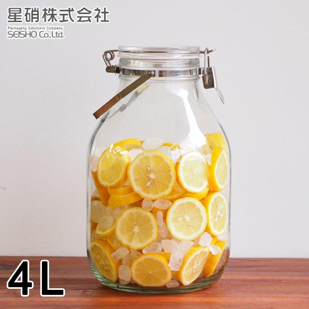 日本星硝 日本製醃漬/梅酒密封玻璃保存罐4L(密封 醃漬 日本製)(快)
