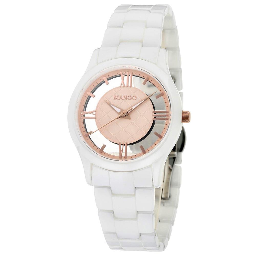 MANGO自信女王陶瓷腕錶-玫瑰金/34mm