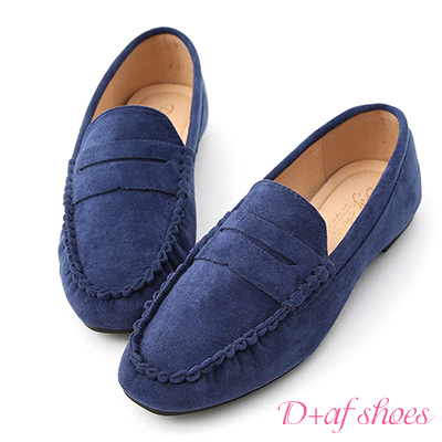 D+AF 自在輕著.經典款絨料平底樂福鞋*深藍