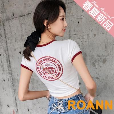 包邊圓領酒杯印花短款T恤 (共六色)-ROANN