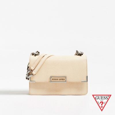 GUESS-女包-純色壓紋鍊條斜背包-黃