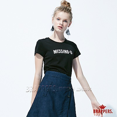 BRAPPERS 女款 MISSING-U印花基本短袖T恤-黑