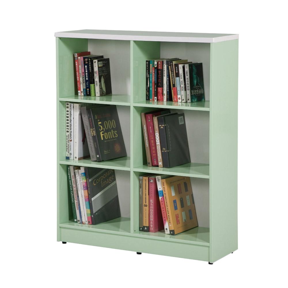 文創集 蘿倫環保3尺塑鋼開放式六格書櫃(四色)-90x40x113cm-免組