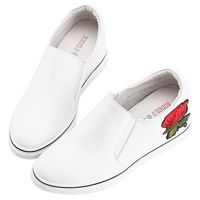 Robinlo & Co.華麗感玫瑰刺繡真皮內增高休閒鞋 白色