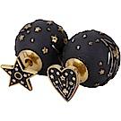 DIOR TRIBALE 復古鍍金黑色心形幸運星不對稱穿釦式耳環