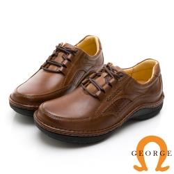 GEORGE 喬治皮鞋 舒適系列 真皮厚底縫線氣墊鞋-棕色