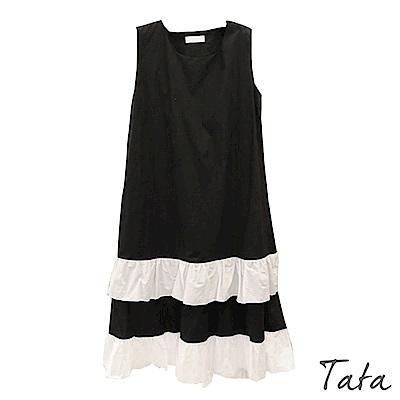 下擺拼接白荷葉無袖洋裝 TATA-(S~L)