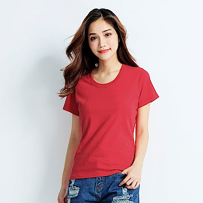 101原創 經典水洗原色圓領素T恤-女-玫瑰紅