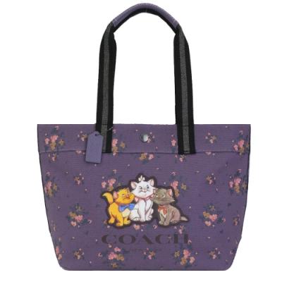 COACH X DISNEY 限量聯名款小花帆布托特包(瑪麗貓/紫)