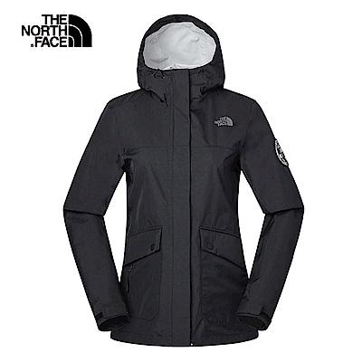 The North Face北面女款黑色防水透氣衝鋒衣 3V49JK3